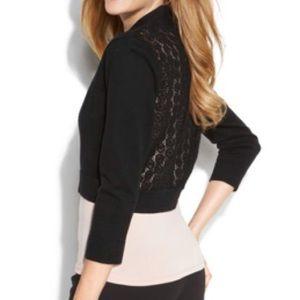 CK black crochet shrug {size L}